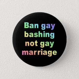 ban gay bashing 6 cm round badge
