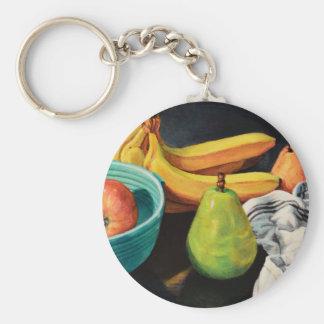 Banana Apple Pear Still Life Key Ring
