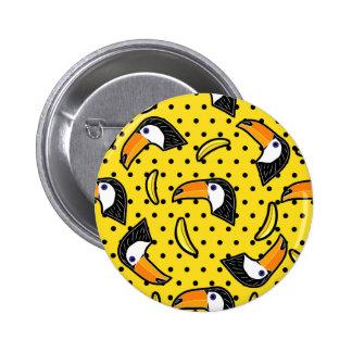 Banana & Bird Polkadots Yellow Black Summer 6 Cm Round Badge