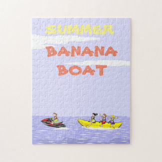 Banana boat group of friends having fun on summer jigsaw puzzle