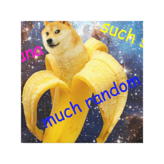 banana   - doge - shibe - space - wow doge canvas print