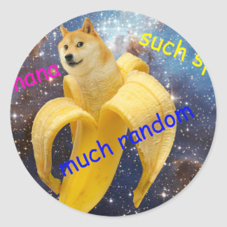 banana   - doge - shibe - space - wow doge classic round sticker