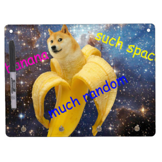 banana   - doge - shibe - space - wow doge dry erase board with key ring holder
