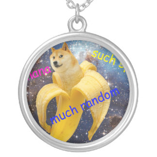 banana   - doge - shibe - space - wow doge silver plated necklace