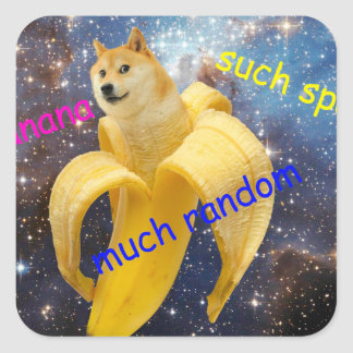 banana   - doge - shibe - space - wow doge square sticker