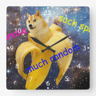 banana   - doge - shibe - space - wow doge square wall clock