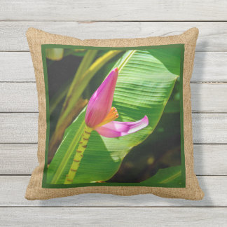 Banana Flower Hawaiian Reversible Outdoor Throw Pillow