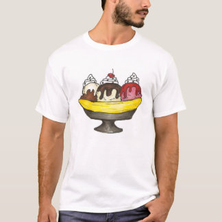 Banana Ice Cream Sundae Split Foodie Junk Food T-Shirt