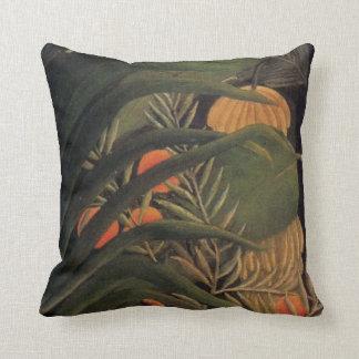 Banana Jungle with Oranges Palm Leaves Rousseau 1 Cushion