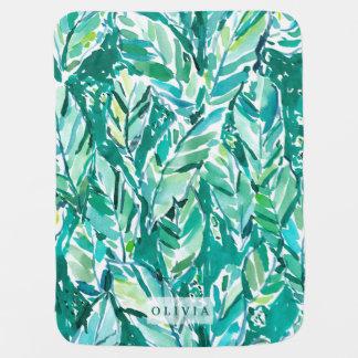 BANANA LEAF JUNGLE Green Tropical Baby Blanket