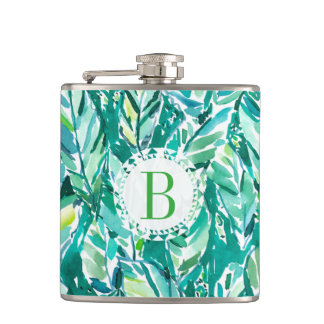 BANANA LEAF JUNGLE Green Tropical Hip Flask