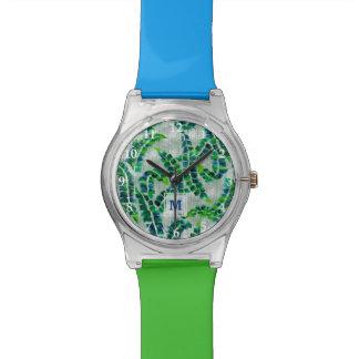 Banana Leaf Monogram Hand-Painted Green Botanical Watch