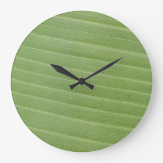 Banana leaf texture large clock