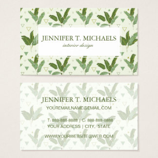 Banana Leaf With Triangles | Monogram Business Card