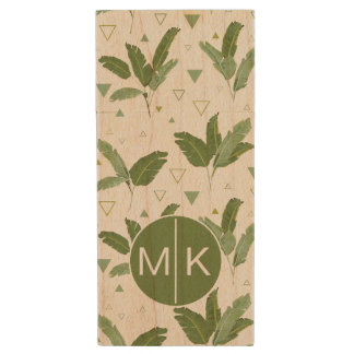 Banana Leaf With Triangles | Monogram Wood USB 2.0 Flash Drive