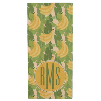 Banana Leaves And Fruit Pattern | Monogram Wood USB 2.0 Flash Drive