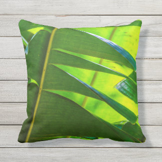 Banana Leaves & Flower Hawaiian Reversible Outdoor Outdoor Cushion