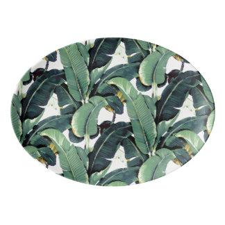 Banana Leaves Palm Tree Oval Serving Platter