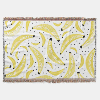 Banana lovers tropical summer fruit pattern throw blanket
