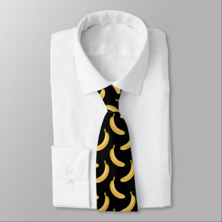 Banana Pattern on Black Tie