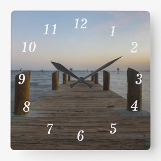 Banana River Dock Square Wall Clock