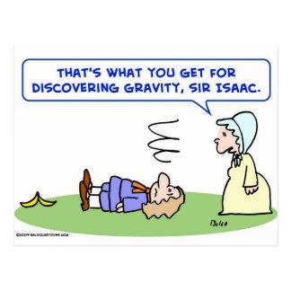 banana sir isaac newton gravity discovering postcard