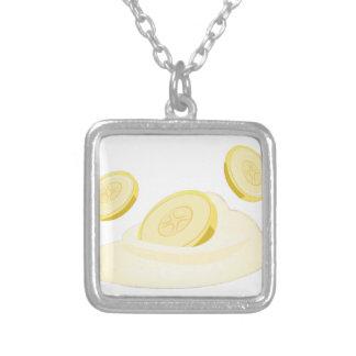 Banana Slices Square Pendant Necklace
