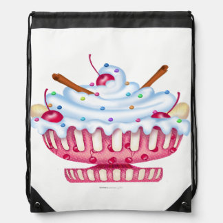 BANANA SPLIT ICE CREAM CARTOON Drawstring Backpack