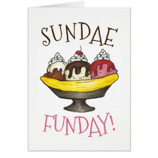 Banana Split Ice Cream Shoppe Sundae Sunday Funday Card