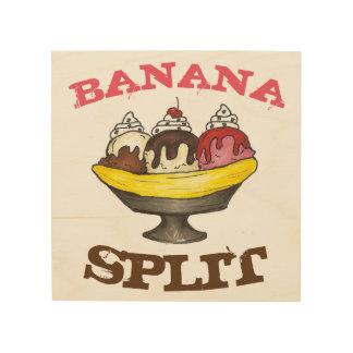 Banana Split Ice Cream Sundae Foodie Diner Food Wood Wall Art