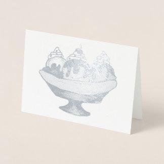 Banana Split Ice Cream Sundae Social Food Dessert Foil Card