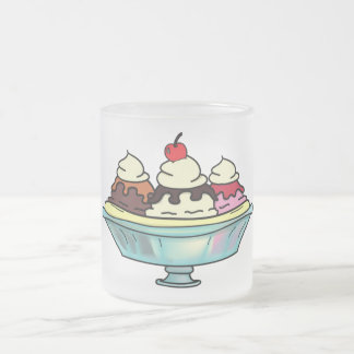 Banana Split Sundae Frosted Glass Coffee Mug