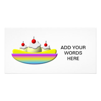 Banana Split with whipped cream and cherries Personalized Photo Card