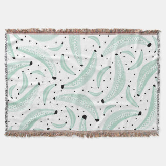 Banana summer trendy fruit pattern mint throw blanket