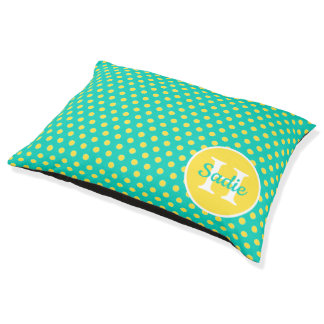 Banana Yellow Polka Dots on island Sea Monogram Pet Bed