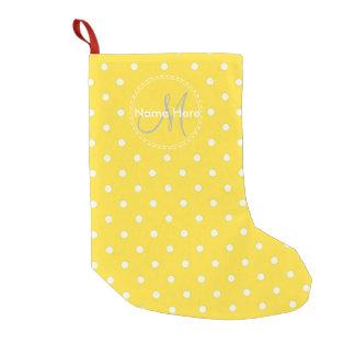 Banana Yellow & White Polka Dots. Custom Name Small Christmas Stocking