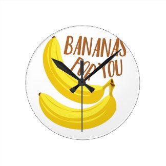 Bananas For You Round Clock