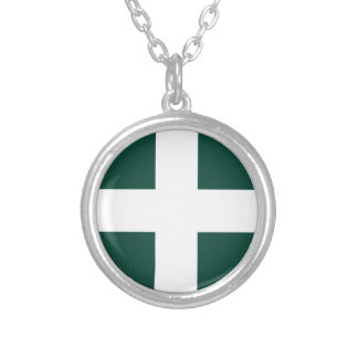 banat region flag silver plated necklace