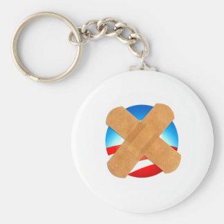Band-aid No to Obamascare Basic Round Button Key Ring