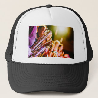 Band Music Musical Instruments Saxophones Horns Trucker Hat
