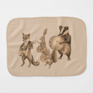 Band of marching animals burp cloth