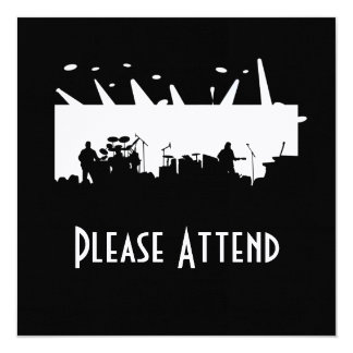 Band On Stage Concert Silhouette B&W 13 Cm X 13 Cm Square Invitation Card