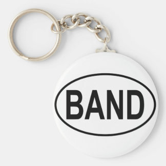 Band Oval Basic Round Button Key Ring