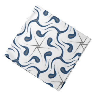 Bandana Jimette blue and gray Design on white