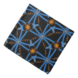 Bandana Jimette blue and orange Design on black