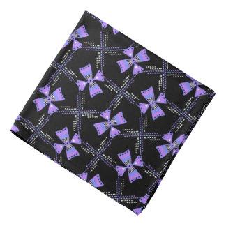 Bandana Jimette blue Design and lilac on black