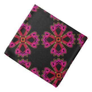 Bandana Jimette red Design fuchsia on black