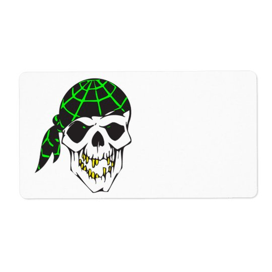bandanna evil skull shipping label