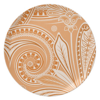 """Bandanna"" Orange Cream Party Plate"