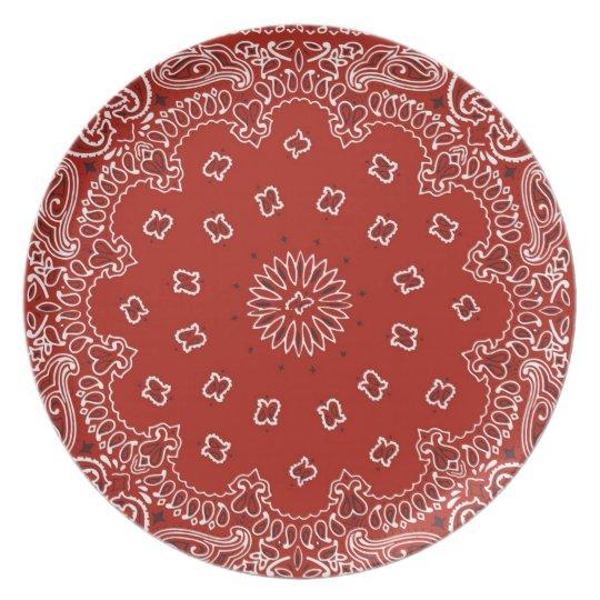 Bandanna Print Melamine Plate Red